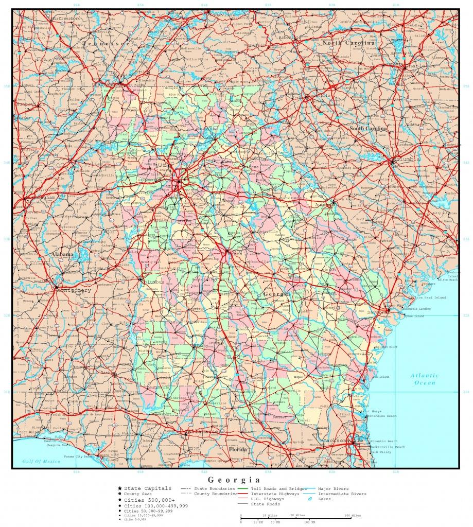 Georgia Florida Map Roads And Travel Information | Download Free - Road Map Of Georgia And Florida