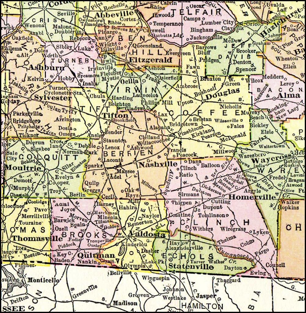 Georgia & Florida Railroad, 1916 Map, Madison, Fl - Hazlehurst - Madison Florida Map