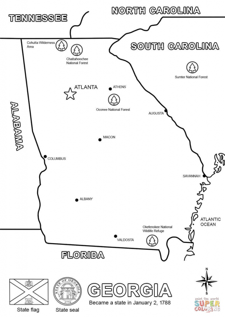 Georgia Map Coloring Page | Free Printable Coloring Pages - Printable Map Of Georgia