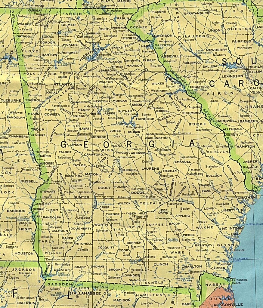 Georgia Maps - Perry-Castañeda Map Collection - Ut Library Online - Printable Map Of Columbus Ga