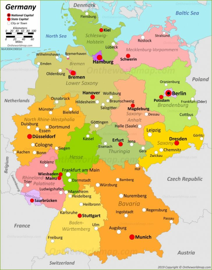 Large Printable Map Of Germany