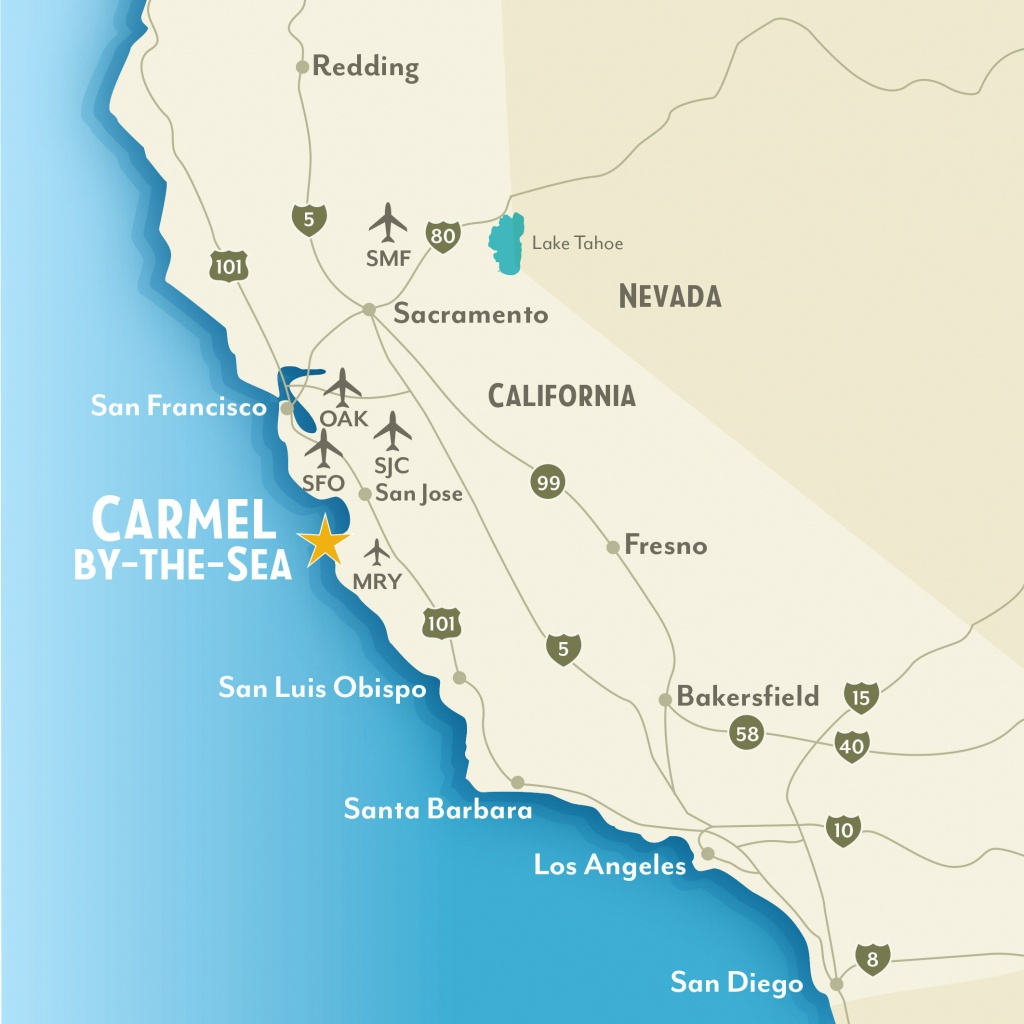 Getting To & Around Carmel-By-The-Sea, California - Beach Map Of California