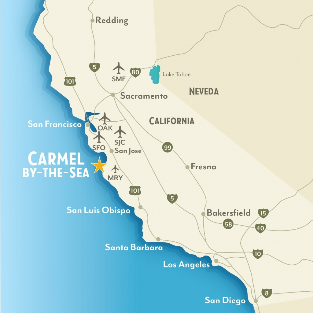 Getting To & Around Carmel-By-The-Sea, California For Map Of - Carmel California Map