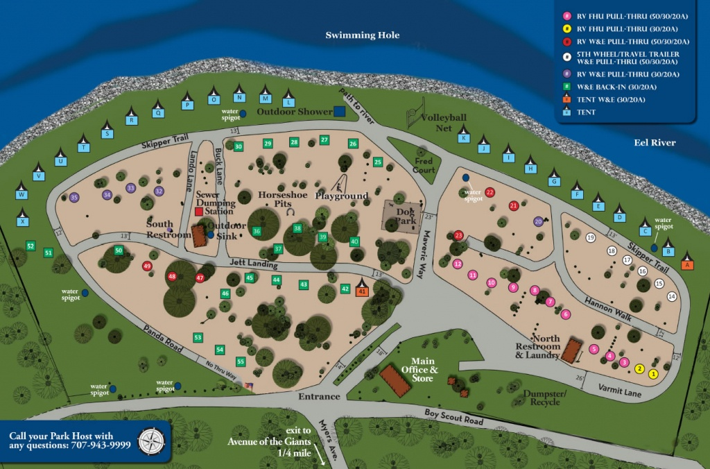 Giant Redwoods Rv Camp | Giant Redwoods Rv Camp - California Tent Camping Map