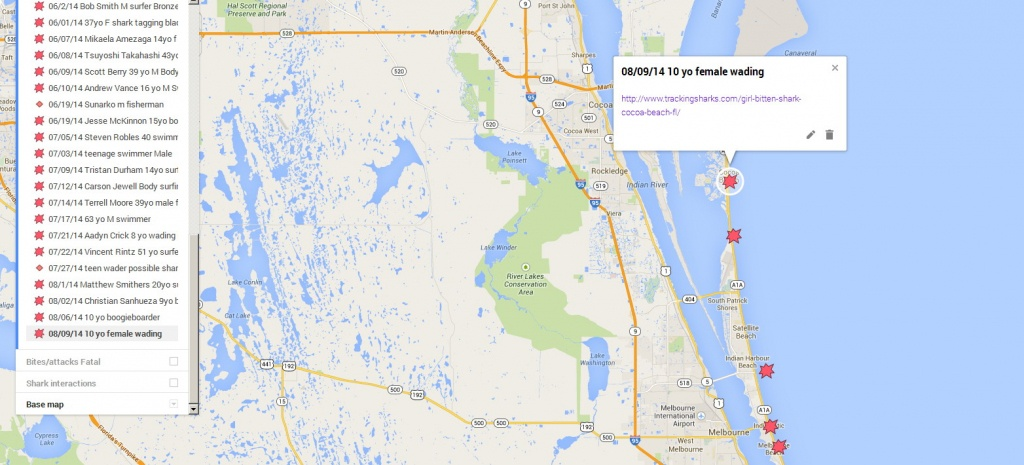 Girl Bittenshark In Cocoa Beach Fl – Tracking Sharks - Coco Beach Florida Map