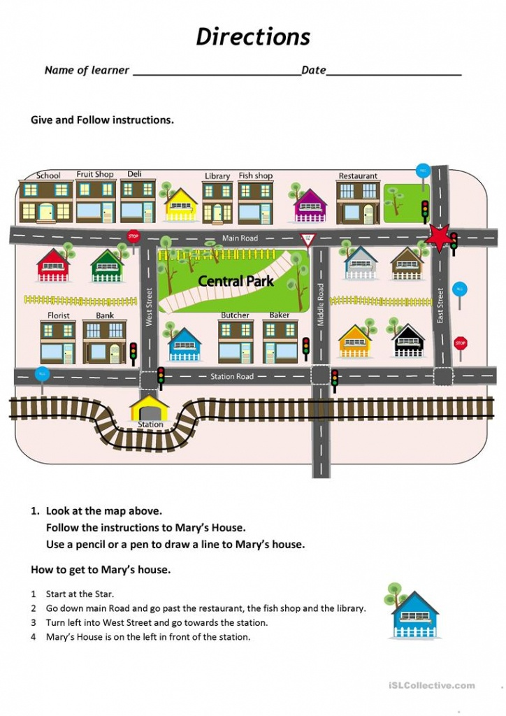 Give And Follow Directions On A Map Worksheet - Free Esl Printable - Free Printable Maps And Directions