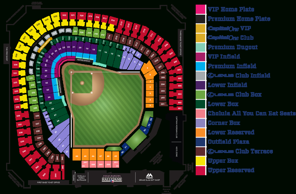 Globe Life Park Seating Map | Mlb | Random Things I'd Want To - Texas Rangers Map
