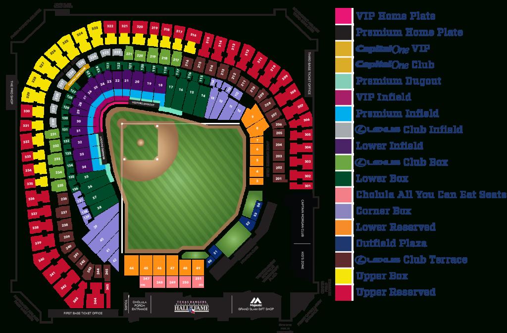 Globe Life Park Seating Map   Mlb   Random Things I'd Want To - Texas Rangers Stadium Parking Map