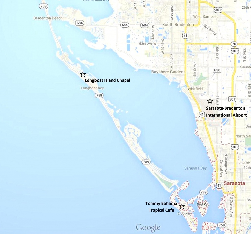 Google Map - Sarasota, Lido Key, Longboat Key, And Anna Maria Island - Lido Beach Florida Map