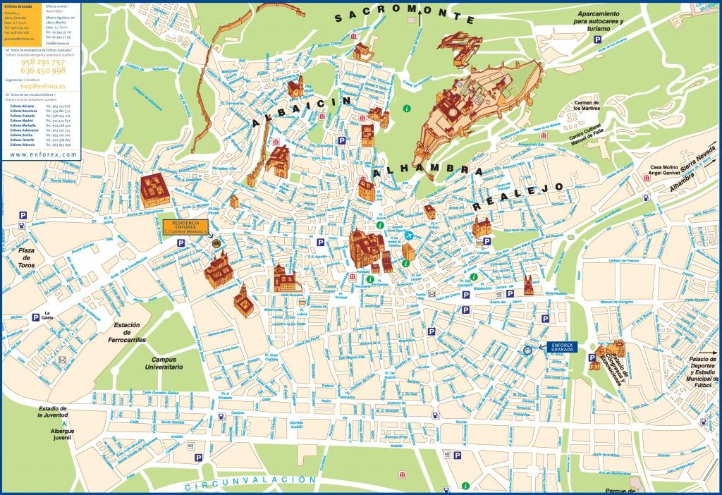 Granada City Center Map - Printable Street Map Of Granada Spain