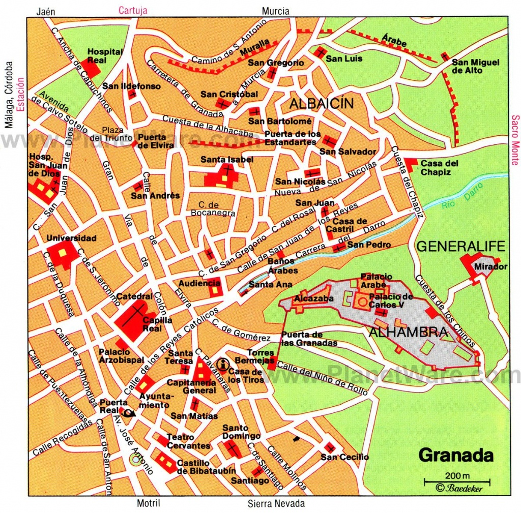 Granada Map - Tourist Attractions | Southern Spain In 2019 | Tourist - Printable Street Map Of Granada Spain
