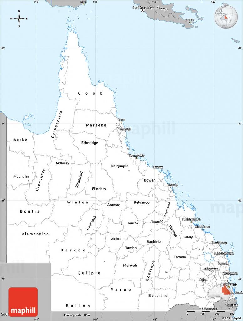 Gray Simple Map Of Queensland - Printable Map Of Queensland