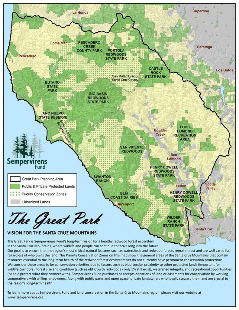 Great Park Map - Santa Cruz Mountains | Sempervirens Fund - Redwood Forest California Map