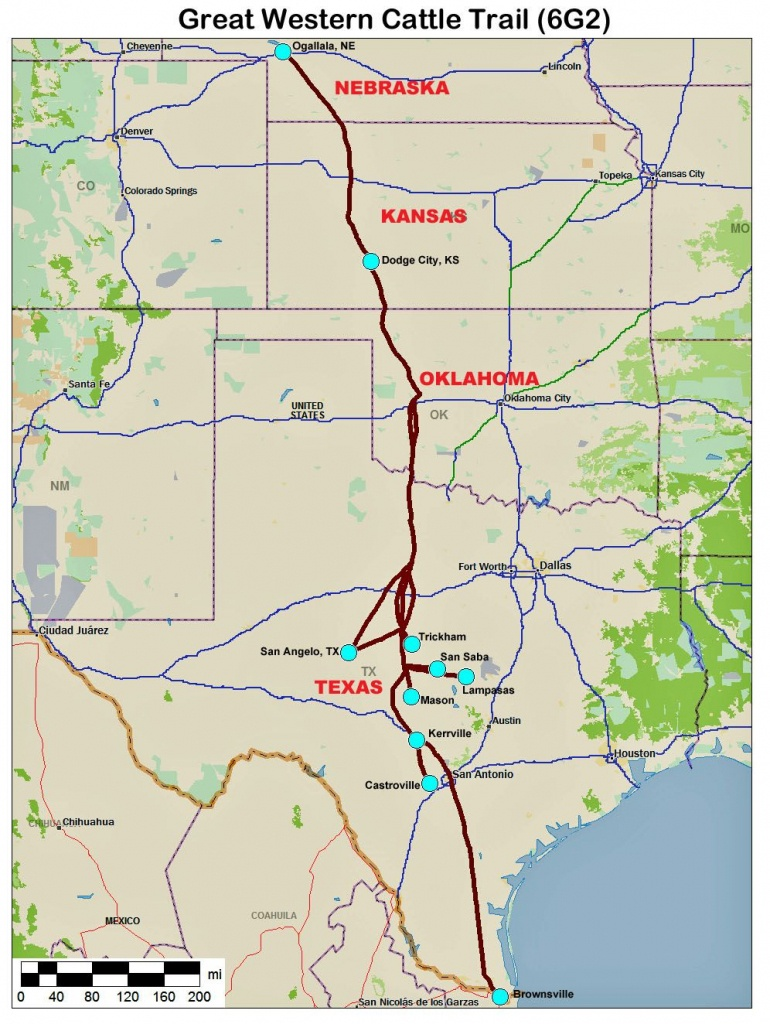 Great Western Cattle Trail Map | Home Town Oklahoma | Trail Maps - Texas Cattle Trails Map