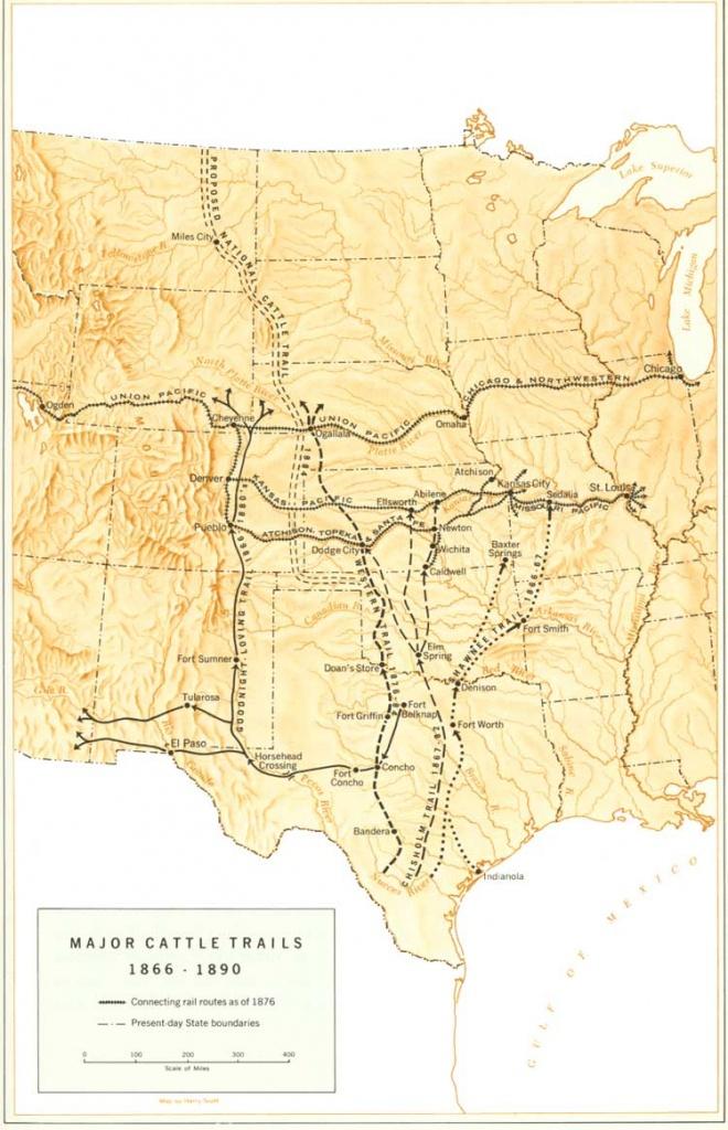 Great Western Cattle Trail - Wikipedia - Texas Trails Maps