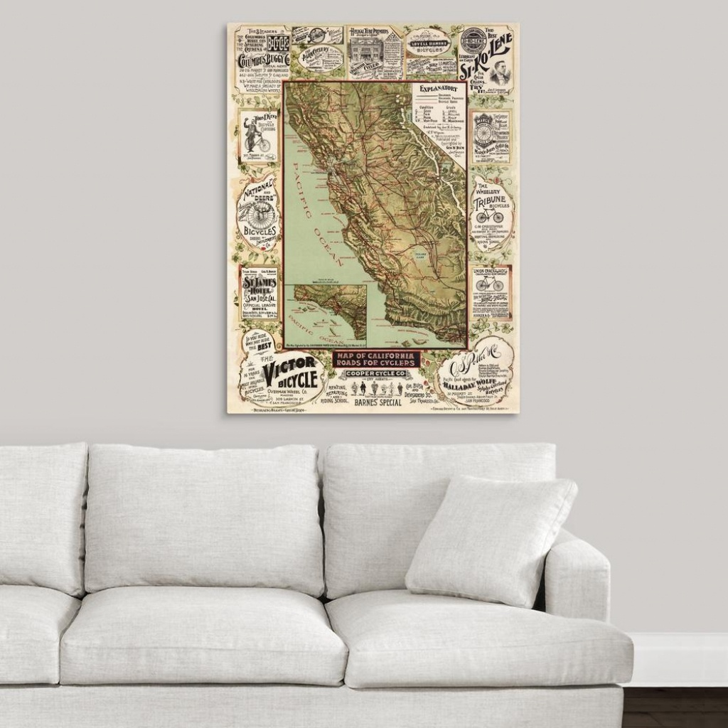 "Greatbigcanvas ""antique Map Of California, 1895""blue Monocle - California Map Wall Art"