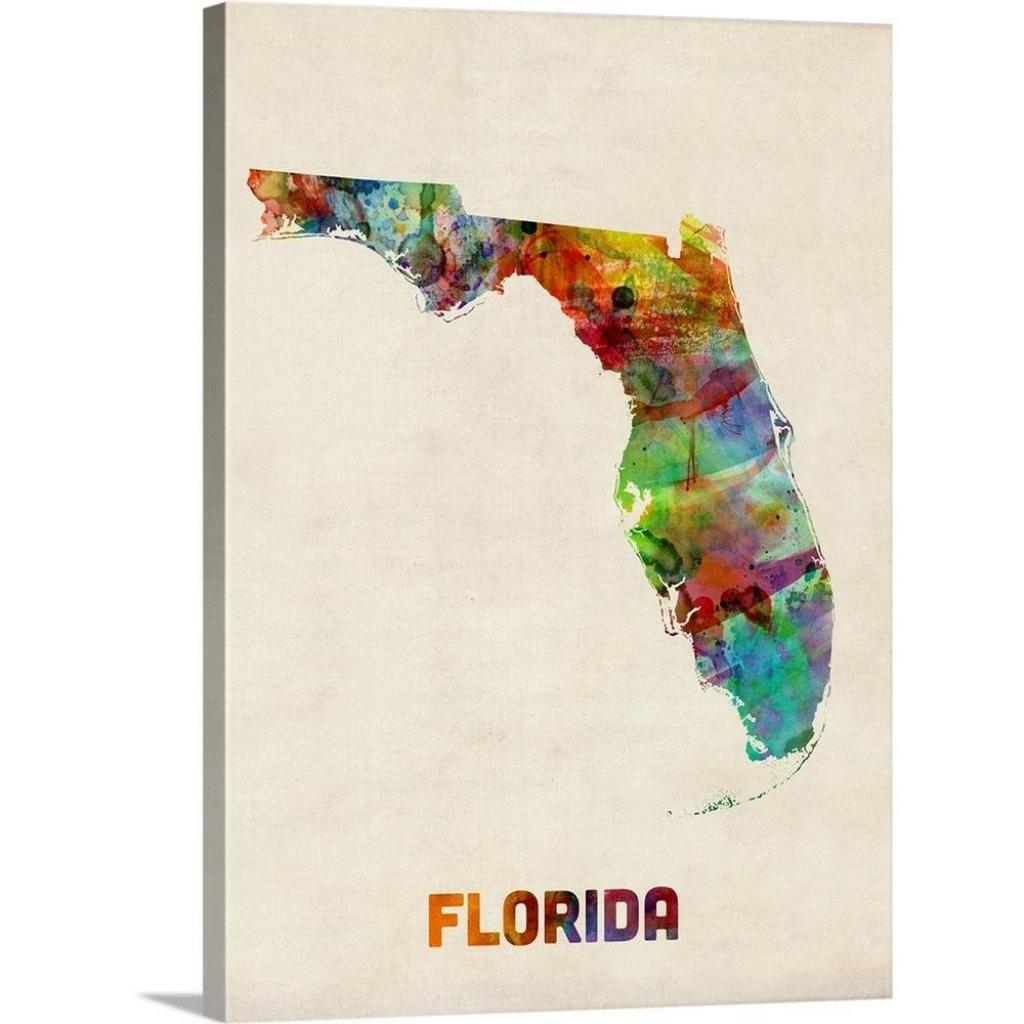 "Greatbigcanvas ""florida Watercolor Map""michael Tompsett Canvas - Map Of Florida Wall Art"