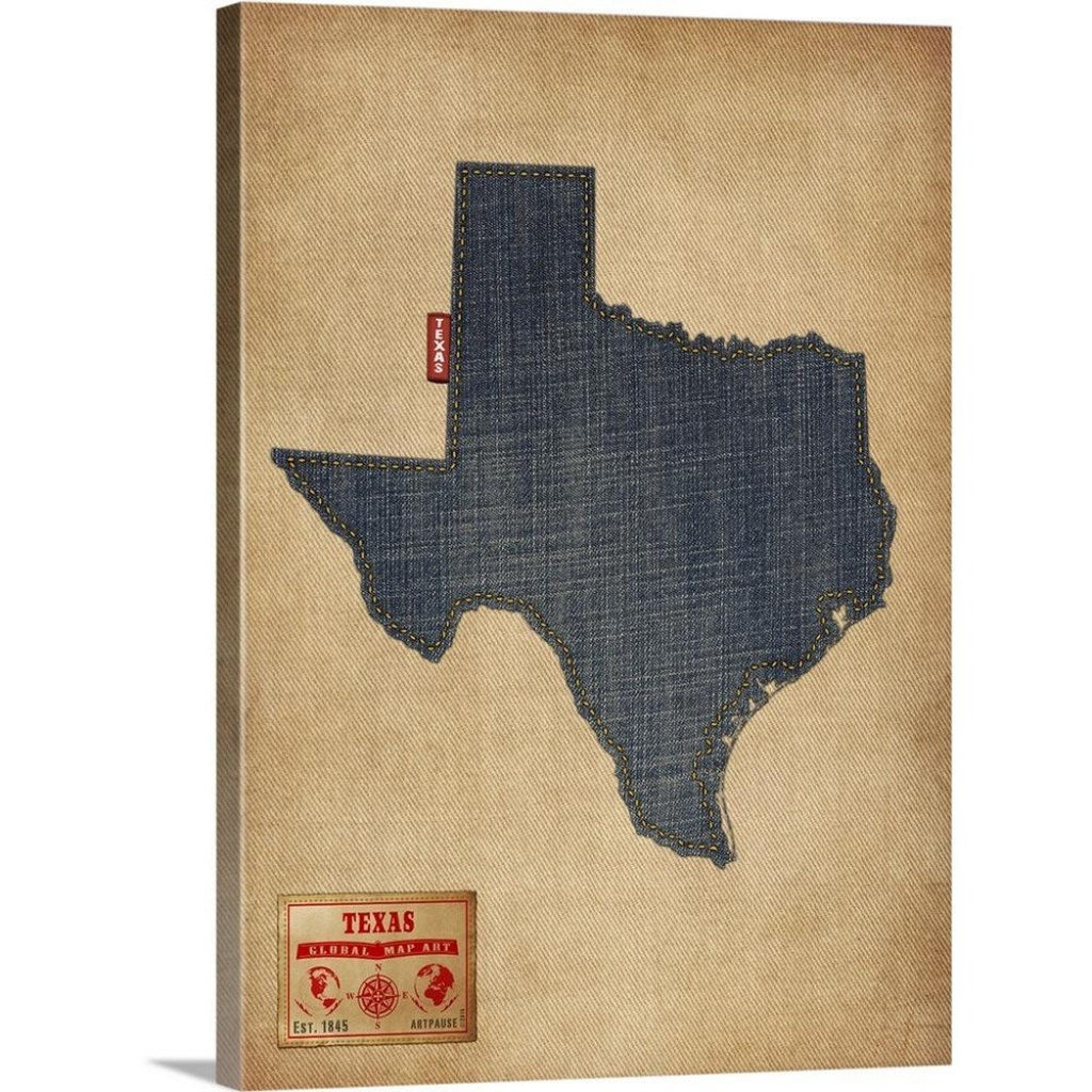 "Greatbigcanvas ""texas Map Denim Jeans Style""michael Tompsett - Texas Map Canvas"