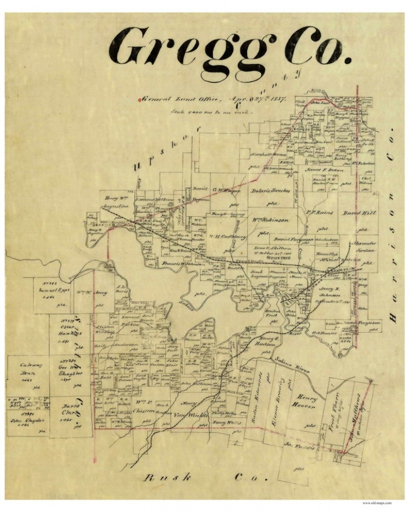 Gregg County Texas 1887 Old Wall Map Reprint With Land   Etsy - Texas County Wall Map