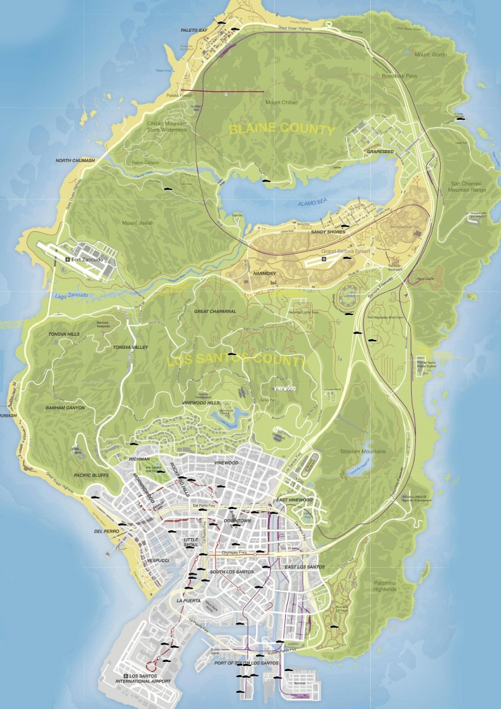 Gta V Stunt Jumps Maps And Locations Guide - Gamingreality - Gta 5 Map Printable