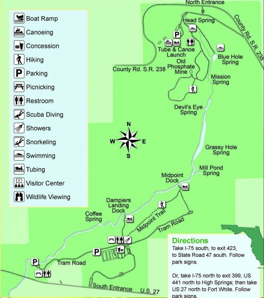Guide To Springs In North Florida - Florida Springs Map