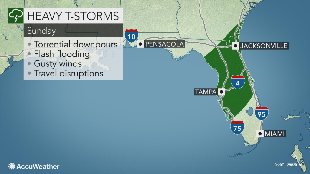 Gusty Storms To Sweep Through Florida On Sunday - Florida Weather Forecast Map