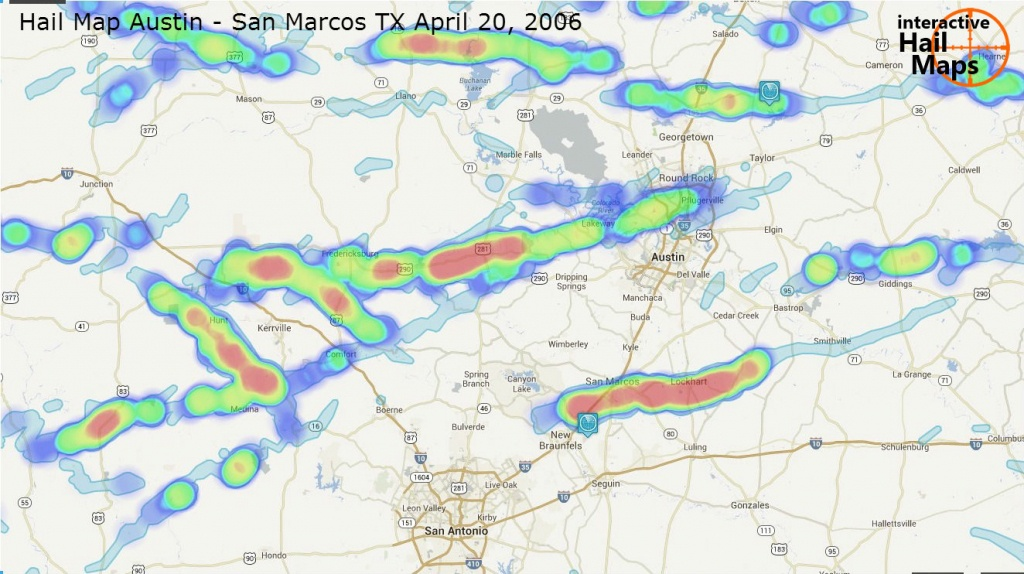 Hail Map Austin - San Marcos, Texas April 20, 2006 - Interactive - Texas Hail Storm Map
