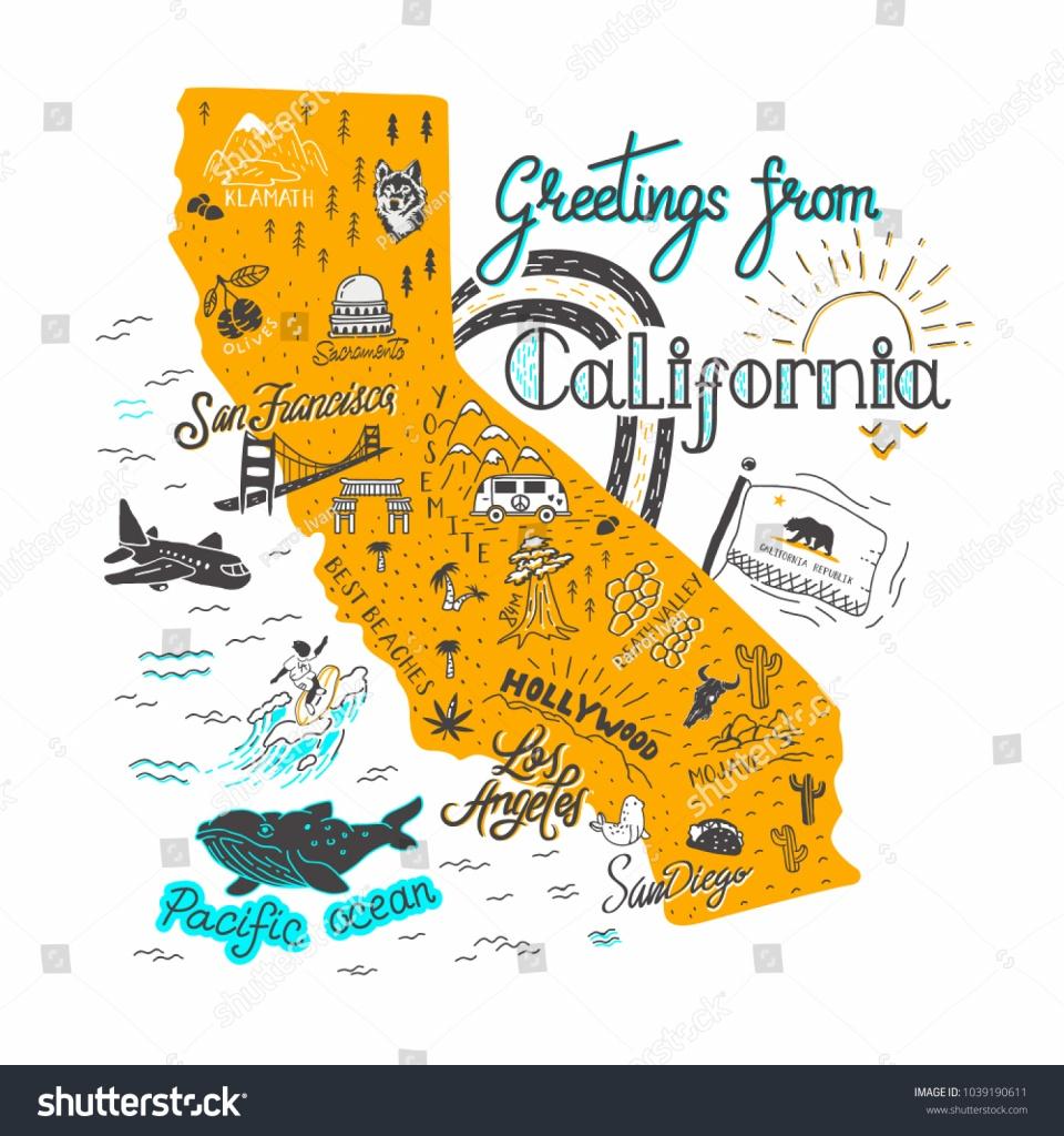 Hand Drawn Illustration California Map Tourist Stock Illustration - California Attractions Map