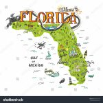 Hand Drawn Illustration Florida Map Tourist Stock Vector (Royalty   Florida Attractions Map