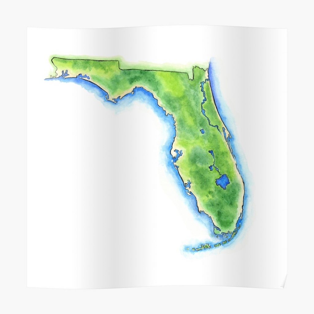 """Hand Painted Watercolor Map Of The Us State Of Florida """" Poster - Watercolor Florida Map"""