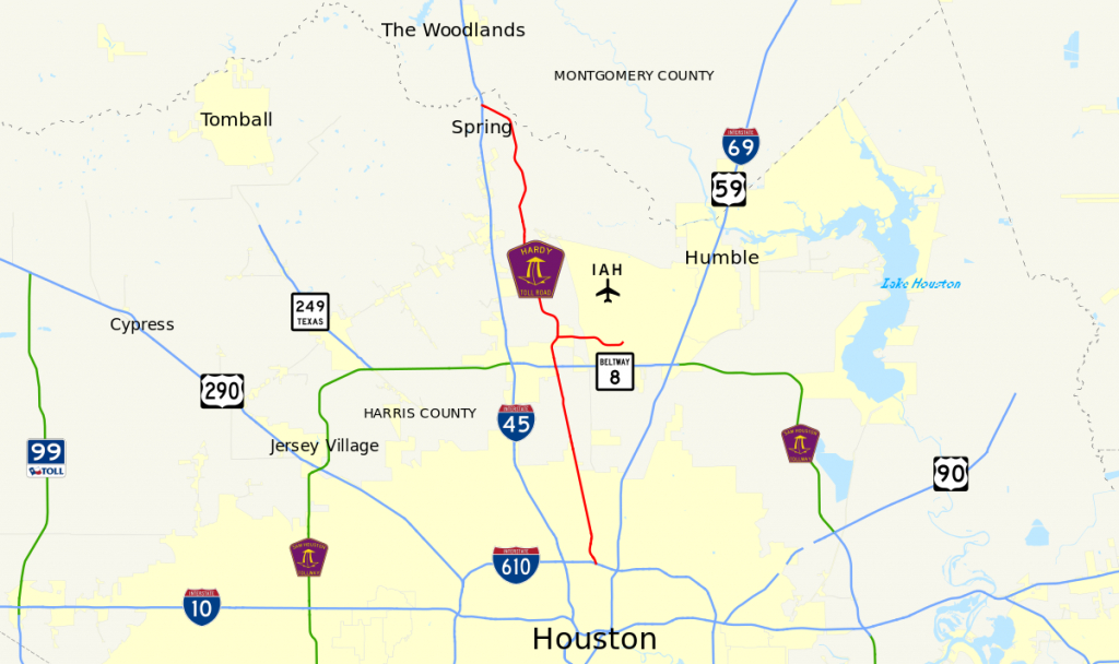 Hardy Toll Road - Wikipedia - Houston Texas Map Airports