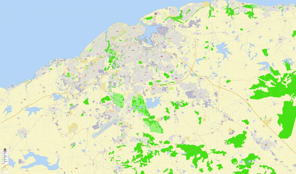 Havana Pdf Map, Cuba, Exact Vector Street G-View Plan City Level 17 - Printable Map Of Cuba