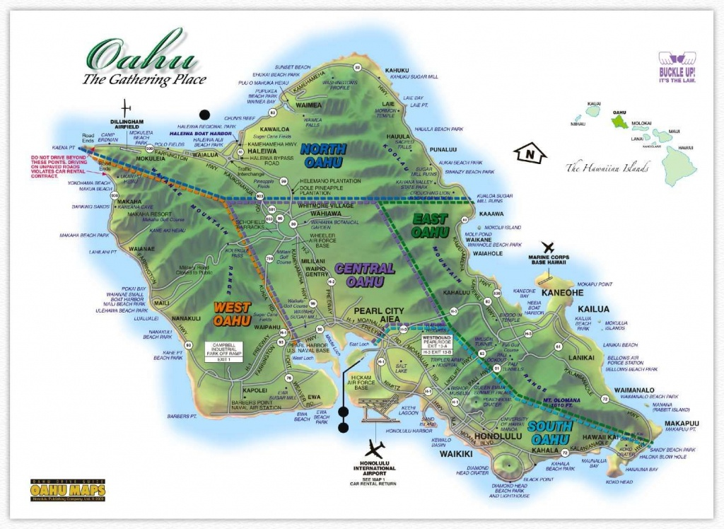 Hawaii Maps: Oahu Island Map - This Highly Detailed Rental Car Road - Printable Driving Map Of Kauai