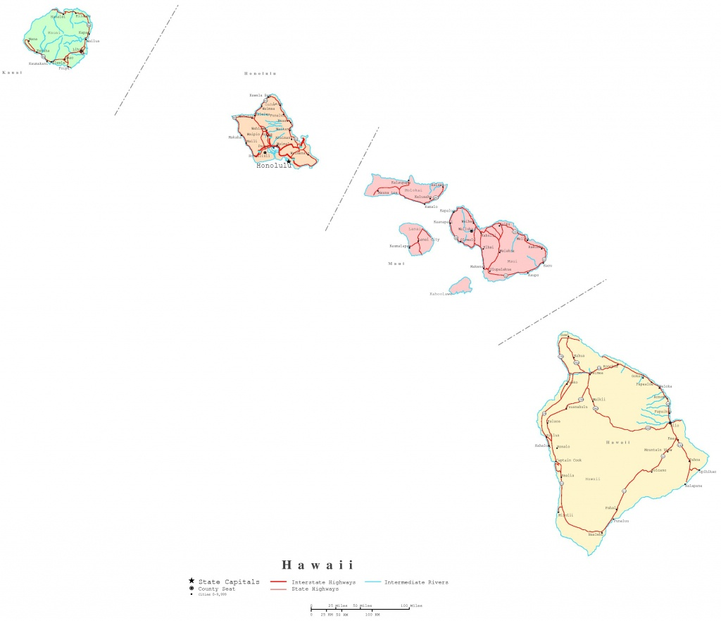Hawaii Printable Map - Printable Map Of Kauai Hawaii