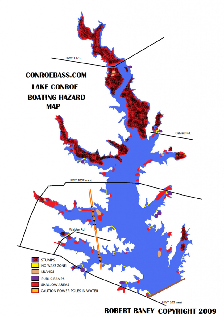 Hazard Map   Lake Conroe Texas   Kayaking   Texas, Our Texas - Texas Lake Maps Fishing