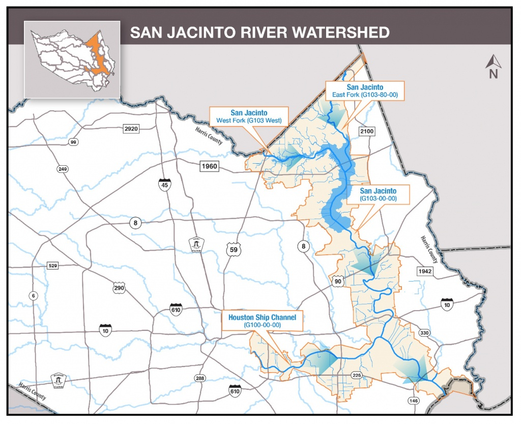 Hcfcd - San Jacinto River - Texas Creeks And Rivers Map