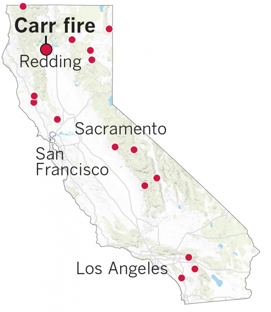 Here's Where The Carr Fire Destroyed Homes In Northern California - Where Are The Fires In California On A Map
