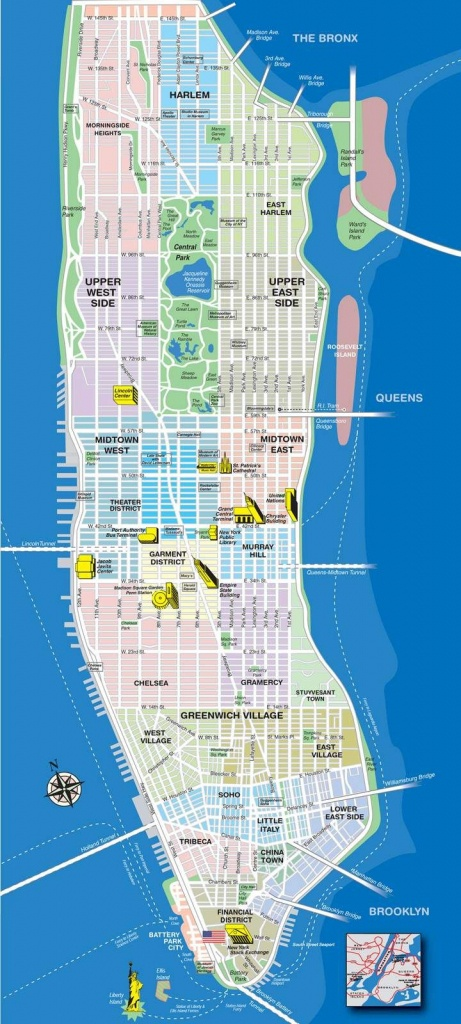 High-Resolution Map Of Manhattan For Print Or Download | Usa Travel - Printable Map Of Downtown Chicago Attractions