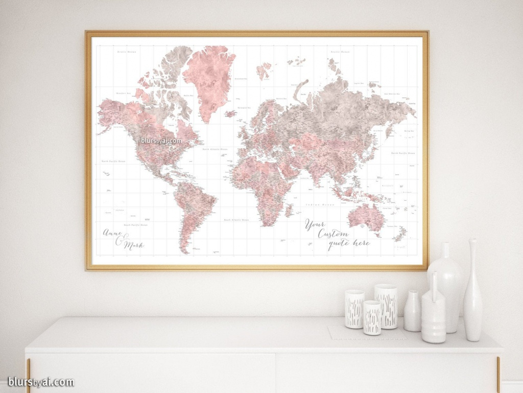 Highly Detailed World Map Print, Custom Gift For Couple, Gift For Wife,  Paper Anniversary Gift, Gift For Newlyweds - Map149-064 - Detailed World Map Printable