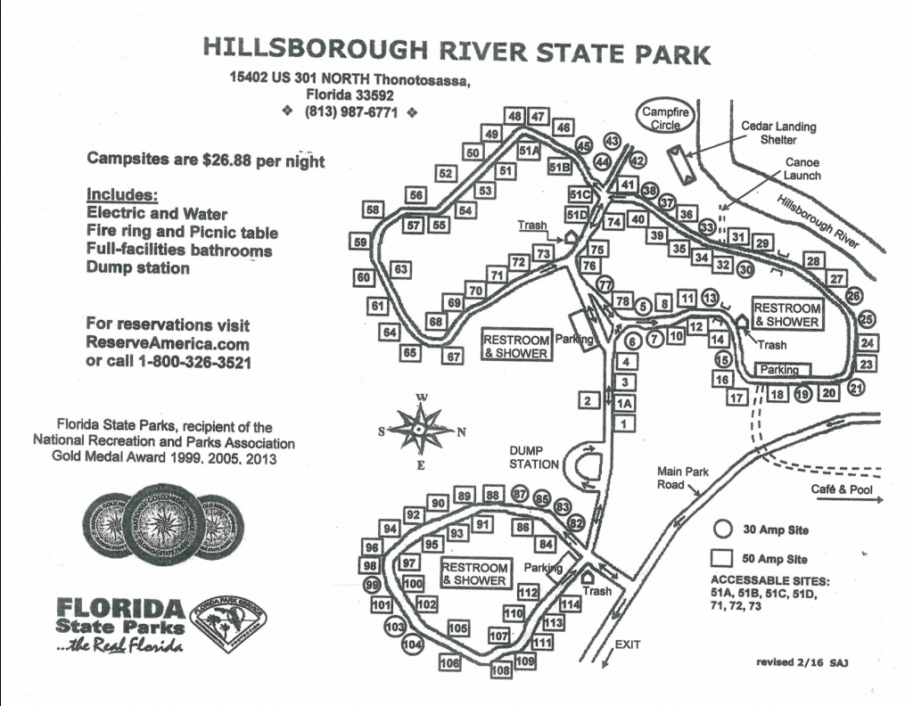 Hillsborough River State Park - Know Your Campground - Florida State Parks Rv Camping Map