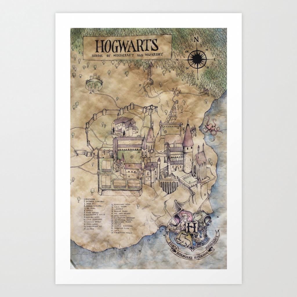 Hogwarts Map Art Printsarahridings | Society6 - Hogwarts Map Printable