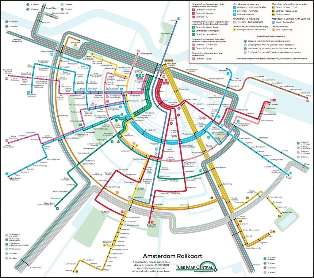 Holland Dutch Train / Rail Maps - Amsterdam Tram Map Printable