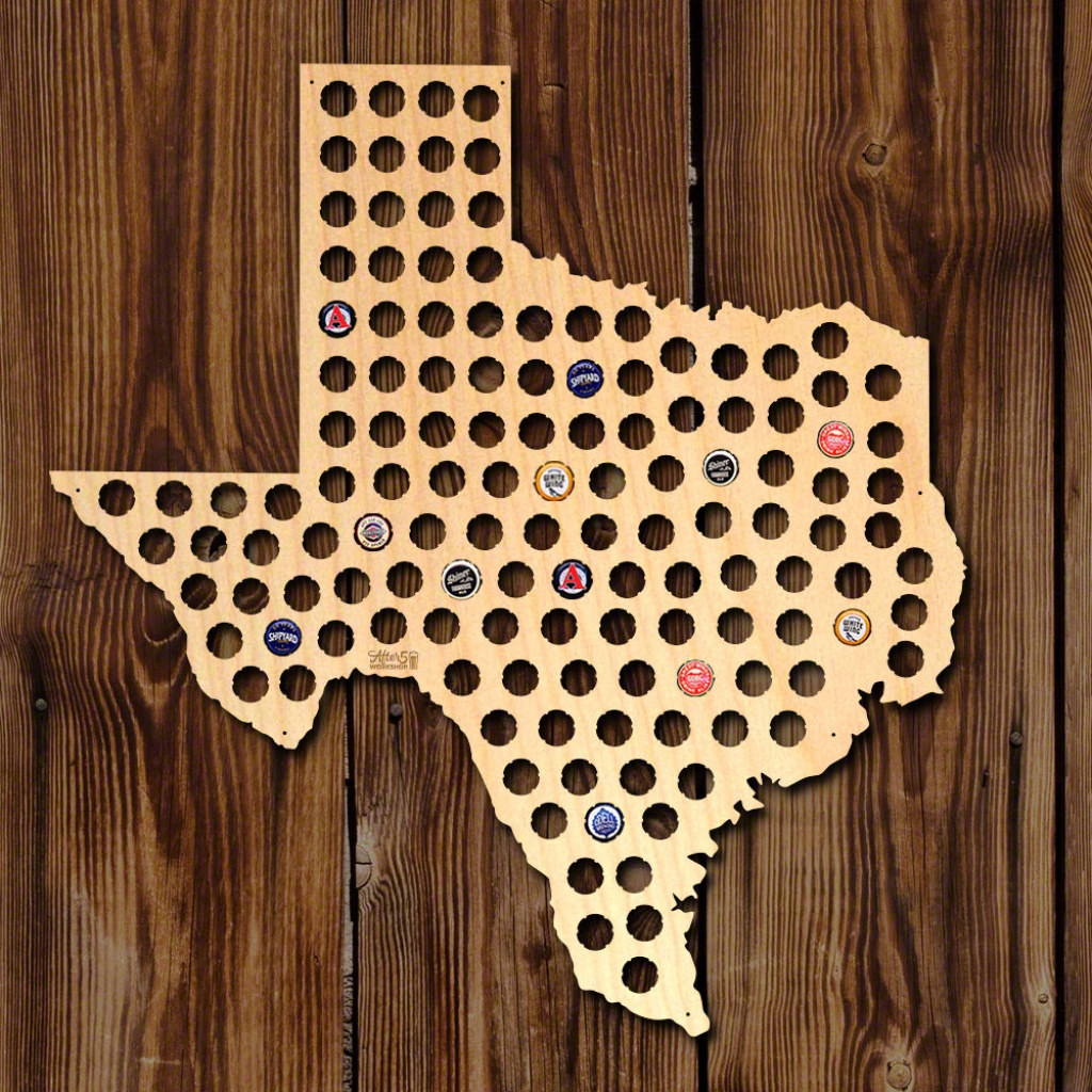 Home Wet Bar Giant Xl Texas Beer Cap Map Wall Décor | Wayfair - Texas Beer Cap Map