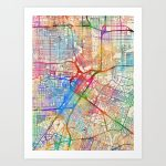 Houston Texas City Street Map Art Printartpause | Society6   Street Map Of Houston Texas