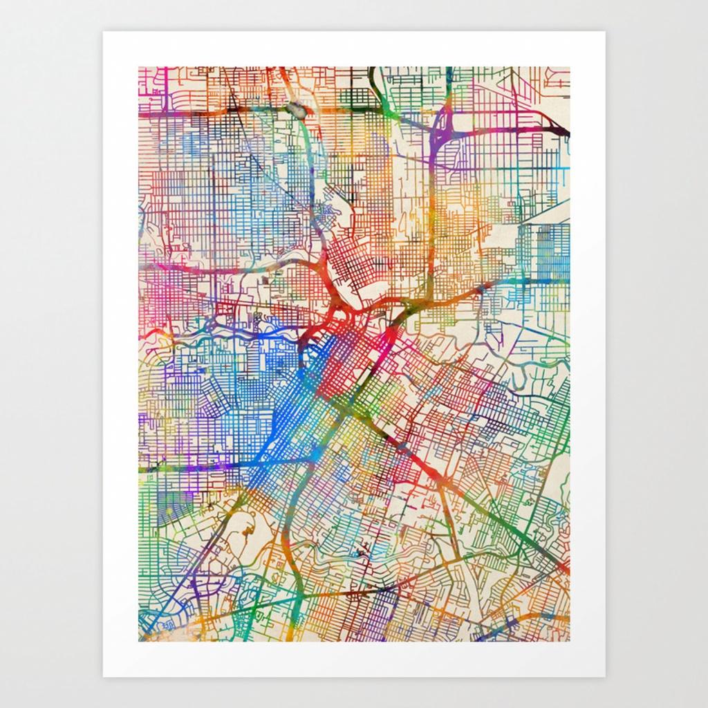 Houston Texas City Street Map Art Printartpause | Society6 - Street Map Of Houston Texas