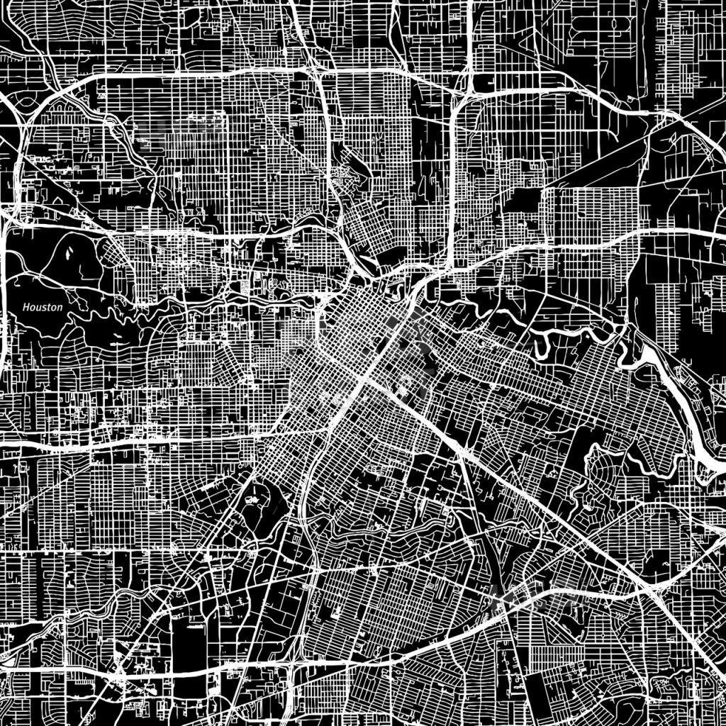 Houston, Texas, Downtown Map, Dark   Hebstreits Sketches - Downtown Houston Map Printable