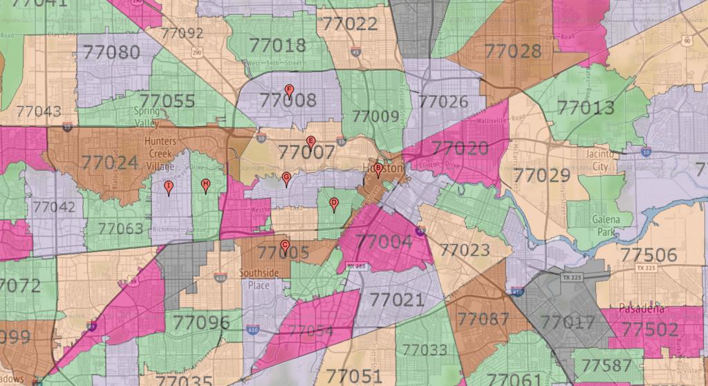 Houston Zip Code Maps | Ameritex Houston Movers - Houston Zip Code Map Printable