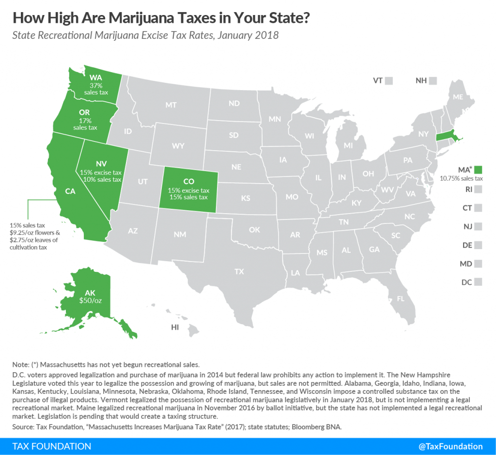 How High Are Marijuana Taxes In Your State? - Tax Foundation - California Sales Tax Map
