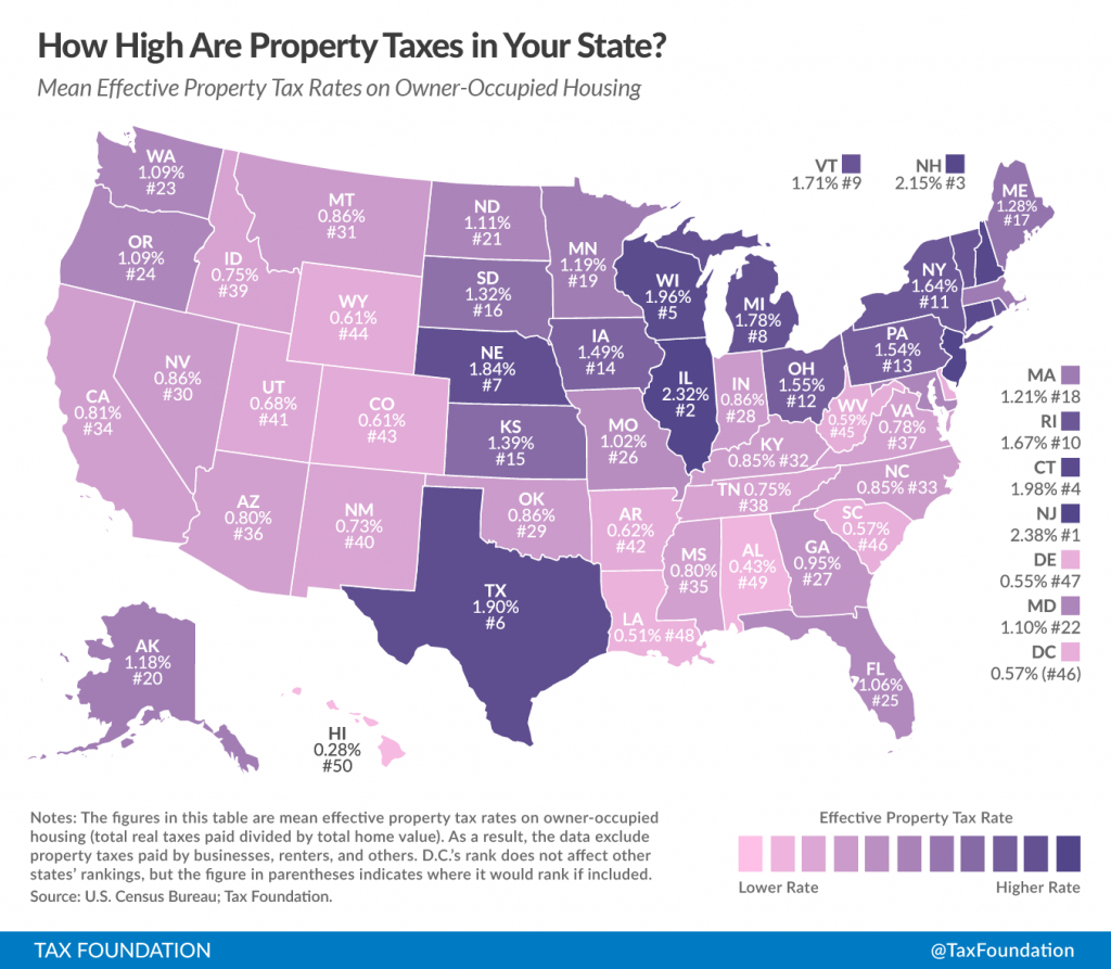 How High Are Property Taxes In Your State?   Tax Foundation - Texas Property Map