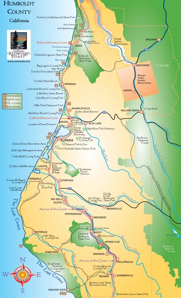 Humboldt County California Map - Humboldt County Ca • Mappery - Avenue Of The Giants California Map